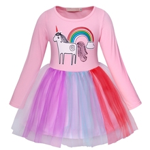 AmzBarley Girls Rainbow Unicorn Tutu Outfits Cute Princess Long Sleeve Fluffy Tulle Birthday Fancy Dress Up Party Dresses
