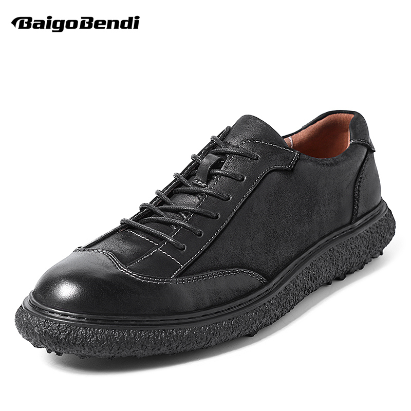 British Style Casual Leather Shoes Men Lace Up Round Toe Retro Shoes Spring Summer Oxfords Cow Leather Pure BlackBritish Style Casual Leather Shoes Men Lace Up Round Toe Retro Shoes Spring Summer Oxfords Cow Leather Pure Black