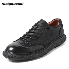British Style Casual Leather Shoes Men Lace Up Round Toe Retro Shoes Spring Summer Oxfords Cow Leather Pure Black цена