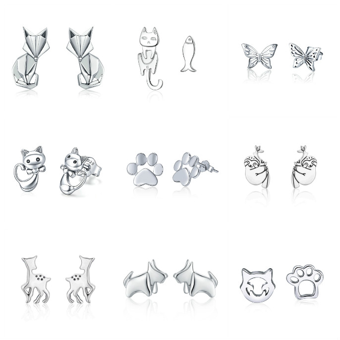 Simple High Quality Sterling Silver Earrings S925 Folding Fox