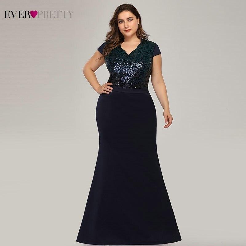 Большие размеры, Длинные вечерние платья с пайетками Ever Pretty EP07989, Русалка, v-образный вырез, рукав-крылышко, Вечерние Платья Vestidos Formales Elegantes