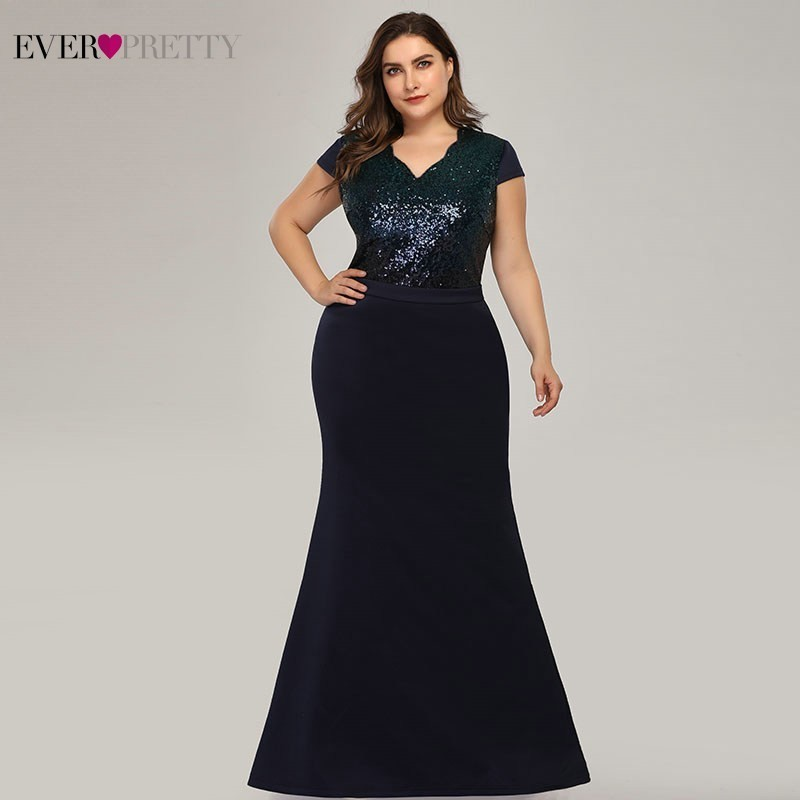 Plus Size Long Sequined Evening Dresses Ever Pretty EP07989 Mermaid V-Neck Cap Sleeve Formal Dresses Vestidos Formales Elegantes