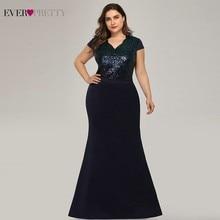 Plus Size Long Sequined Evening Dresses Ever Pretty EP07989 Mermaid V-Neck Cap Sleeve Formal Vestidos Formales Elegantes