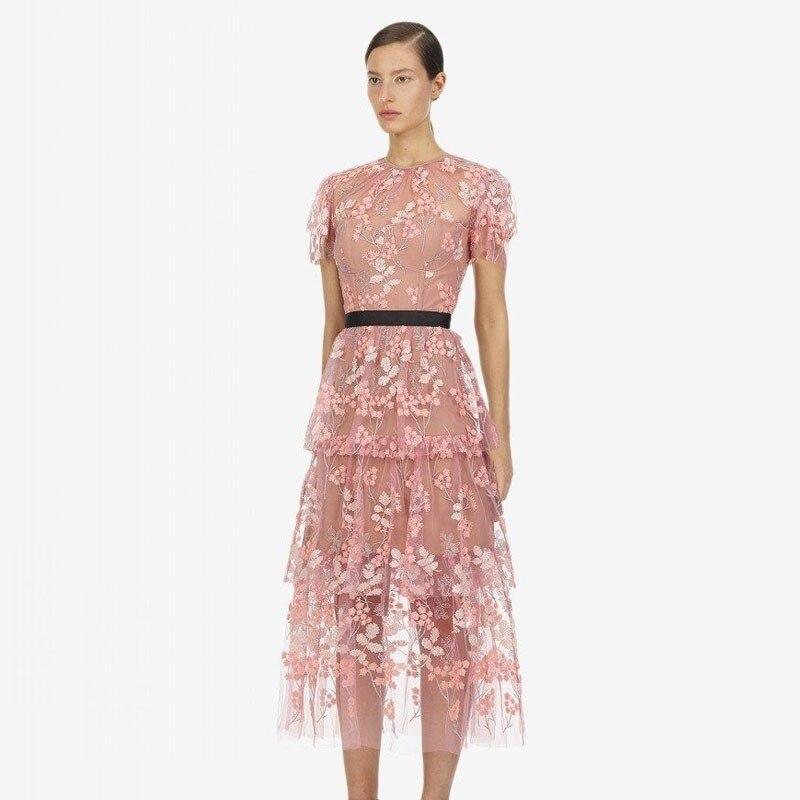 TDVICTORY 2019 nouveau été rose maille broderie piste femmes Boho robe avec manches courtes dentelle robe charmante Midi Vestidos