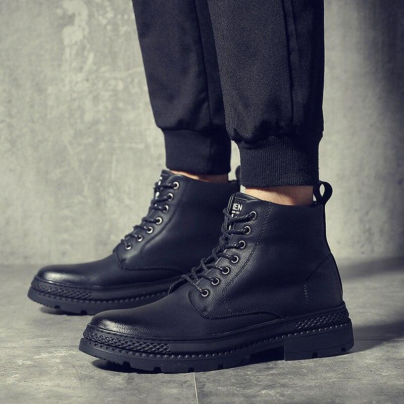 6e6dc32694 Lace 44 Couro Grossas Up Black Sapatos Homem Alta Bota Outono Homens 38  Martin Inverno De ...