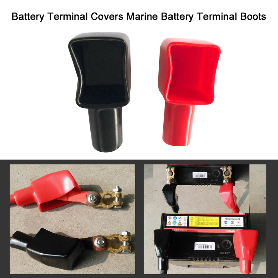 Battery Terminal Boot Elbow Protector 1 Left POS Red 1 LEFT NEG 2 Gauge