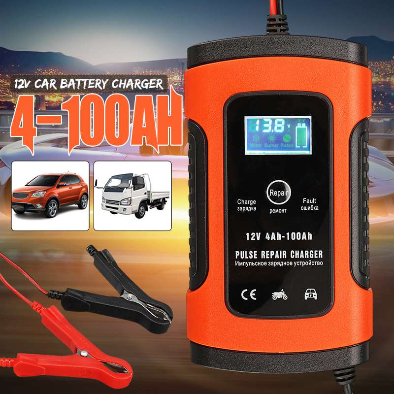 12 v 5A Auto Voiture Intelligente Chargeur de Batterie Jump Starter LCD Intelligente 100-240 v 100AH Réparation D'impulsion Type