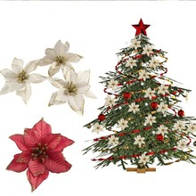Pack Of 10pcs Poinsettia Christmas Flower For Merry Tree Decorations Festival Xmas Home