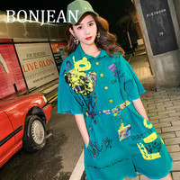 BONJEAN Print Playsuit for Women 2019 Summer Short Jumpsuits Short Sleeve Blue Playsuit with Belt Loose Jeans Playsuit BJ1207