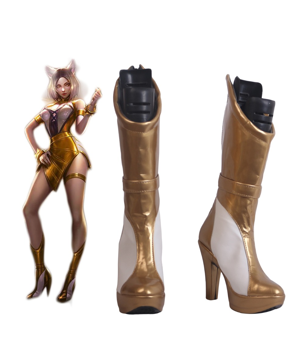 LOL KDA Ahri Prestige Edition Cosplay Boots Golden High Heel Shoes Custom Made for Men and
