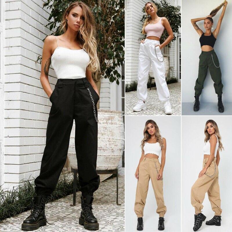 Trousers Ladies Chain Cargo-Pants Jogger Slacks Combat High-Waist Baggy Women Casual gown