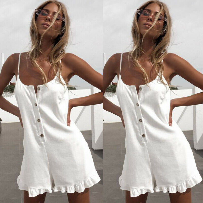 Women's Party Clubwear Beach Holiday Summer Short Mini   Jumpsuit   Playsuit Romper Shorts Button Loose Solid Casual Clothes
