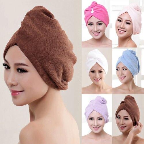 Women Bathroom Super Absorbent Hair Drying Towel Turban Bathing Cap Bathrobe Hat Head Wrap Towel Hair Dry Cap Salon Towel