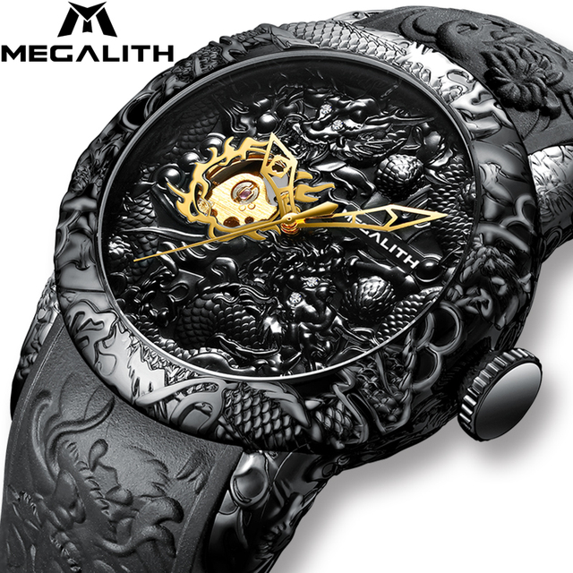 MEGALITH Gold Dragon Sculpture Automatic Mechanical Watches Men Waterproof Silicone Strap Quartz Wristwatch Clock Relojes Hombre