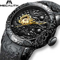 MEGALITH Gold Dragon Sculpture Automatic Mechanical Watch For Men Waterproof Silicone Strap Wristwatch Clock Relojes Hombre 8041