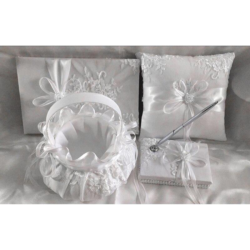 Classique blanc broderie dentelle fleur panier & anneau oreiller & signe livre & stylo mariage