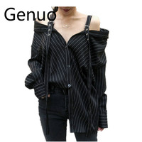 fcf815961d Punk Gothic Off Shoulder Blouse Tops 2019 Women Korean Fashion Sexy  Strapless Long Sleeve Vertical Striped