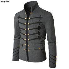 купить 2018 Vintage Mens Gothic Steampunk Military Parade Jacket Slim Fit Tunic Rock Black Army Coat Long Sleeve Men Plus Size Jackets дешево