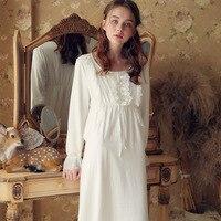 Victorian Draped Nightgown Vintage Sleepwear Women Night Wear Sleep Shirt Home Dress White Princess Nightdress For Wedding