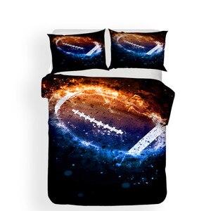 Image 2 - Комплект постельного белья с 3D принтом, пододеяльник, Комплект постельного белья, футбол, домашний текстиль для взрослых, реалистичное постельное белье с наволочкой # GLQ02