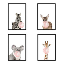 30*40cm 4pcs Giraffe Zebra Animal Posters Prints Canvas Art Painting Wall Art Nursery Decorative Picture Nordic Style No Frame(China)