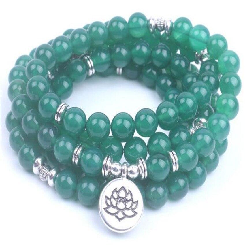 8mm Natürliche Grüne Onyx 108 Perlen Halskette Glück Sutra MÖnch Diy Beten Ruyi Armband Billig Hot Energy Meditation Klassische Erfrischung Halsketten & Anhänger