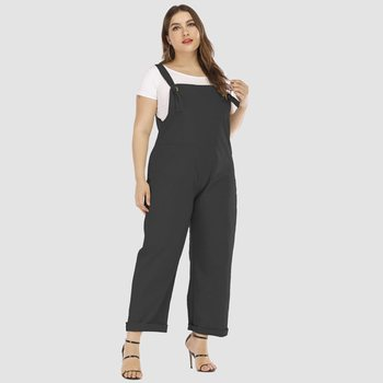 Casual Jumpsuit Plus Size Women Overalls Summer 2019 New Fashion Street Solid Black Simple Loose Ladies Long Wide Leg Jumpsuits