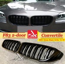 цены на For F83 Front Grille ABS Gloss Black M4 428i 435i 440i Double Slats Grills F83 M4 2-door Convertible Front Kidney Grille 2013-18 в интернет-магазинах