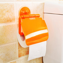 Plastic Wall Mount Suction Cup Bathroom Toilet Roll Paper Holder &Cover