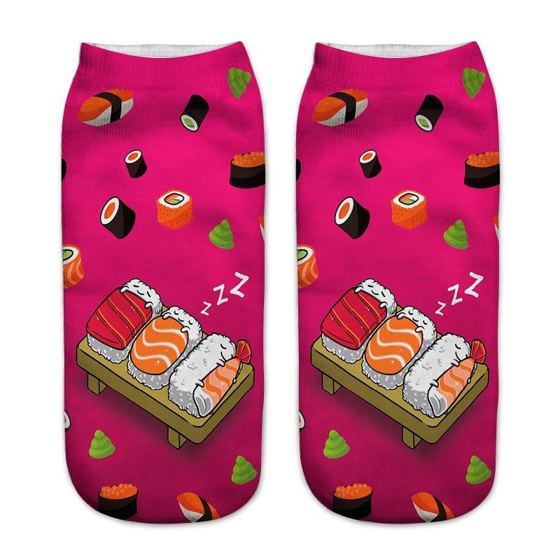 Popular Funny Unisex Short   Socks   3D Printed Low Cut Ankle   Socks   Women Casual Comfortable Harajuku   Socks   Sushi Pizza Pattern