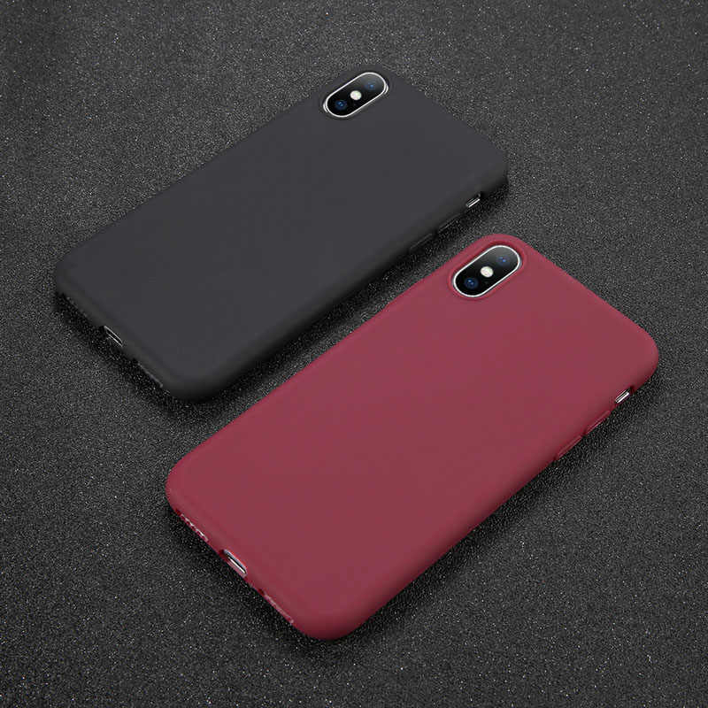 USLION Telefon Fall Für iPhone 11X7 6 6s 8 Plus 5 5s SE XR XS 11 pro Max Einfarbig Ultradünne Weiche TPU Fall Candy Farbe Abdeckung