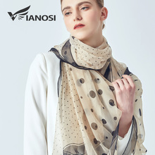 [VIANOSI] Summer woman scarves 2019 dot print silk scarf for women big size sunscreen beach stoles elegant hijab brand shawls