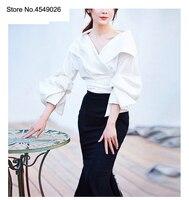 Высокое качество мода Ol Элегантные Топы Блузка 2018 Осенняя женская блузка с отложным воротником 3/4 рукав тонкая женская блузка C2591