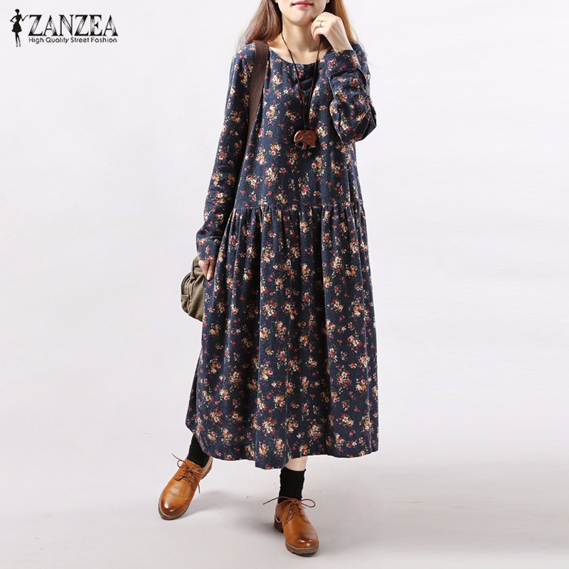 Plus Size 2018 Autumn ZANZEA Women Vintage Floral Print Dress Long Sleeve O Neck Pockets Loose Casual Mid-calf Dresses Vestidos
