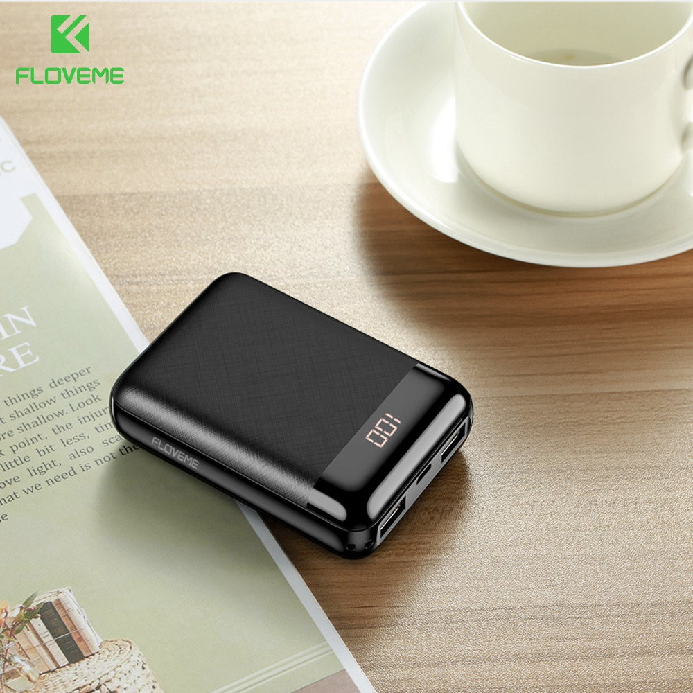 FLOVEME Power Bank For iPhone Xiaomi Mi Mini Pover Bank 10000mAh LED Display Powerbank External Battery Poverbank Fast Charging