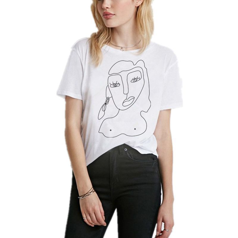 Best selling European and American style casual wild women's short-sleeved printed t-shirt women's shirt bottoming shirt image