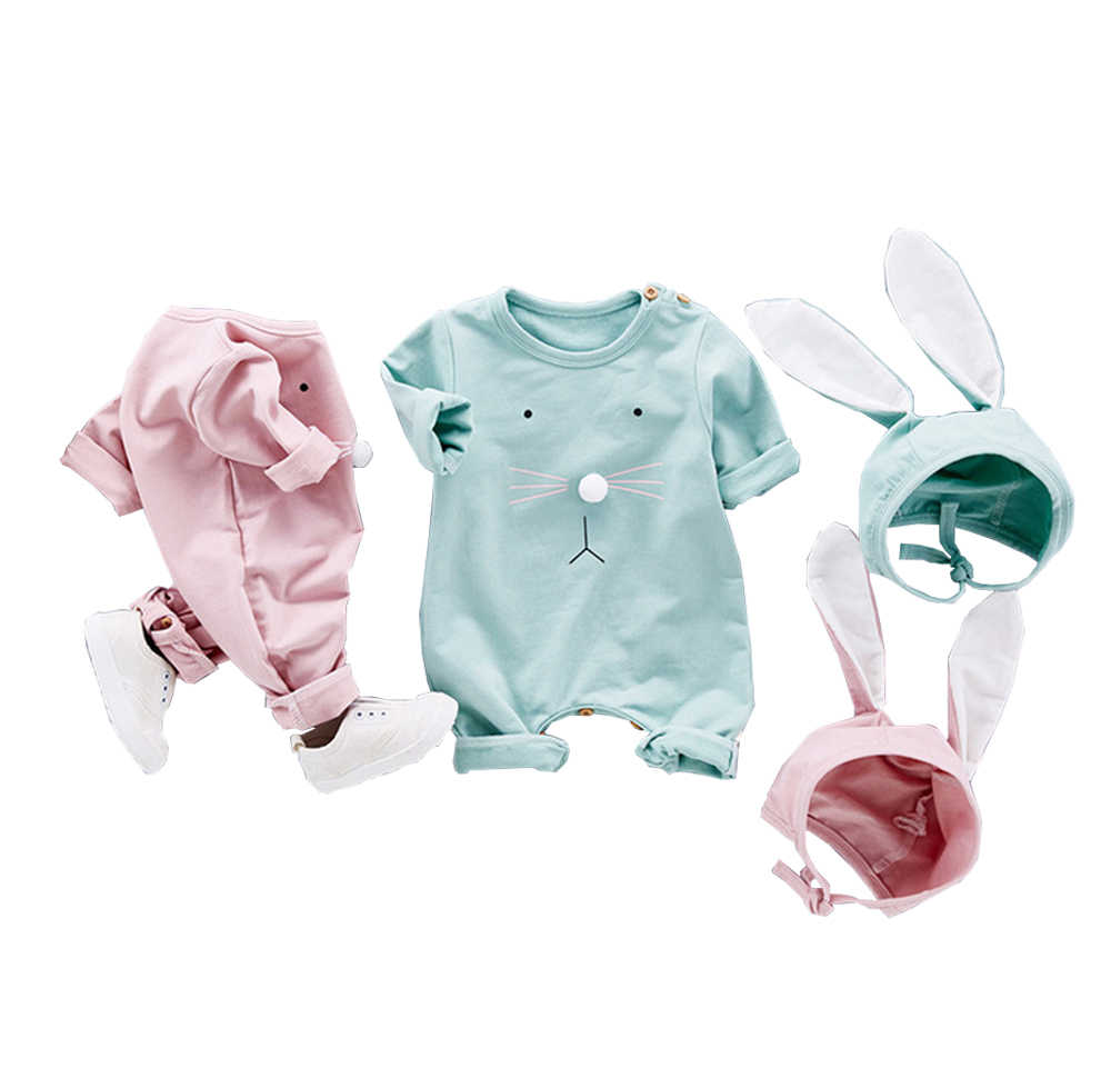 2 шт., пасхальный комбинезон для маленьких мальчиков и девочек, Милый хлопковый комбинезон с длинными рукавами и кроличьими ушками, Детский костюм, комбинезоны, roupas bebes