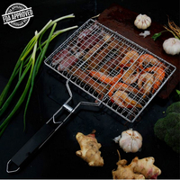 Barbecue Grilling Basket,Outdoor 430 Stainless Steel BBQ Pan for Fish,Vegetable,Beef Steaks, with Removable Wooden Handle