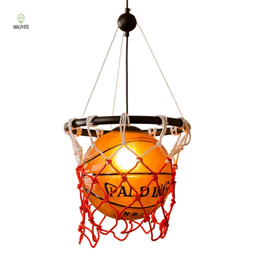 Ballon de basket-ball Pendentif Lumières lustre En Verre lampe suspendue ampoule vintage Enfants de Chambre Bar Sport Éclairage À La Maison Déco