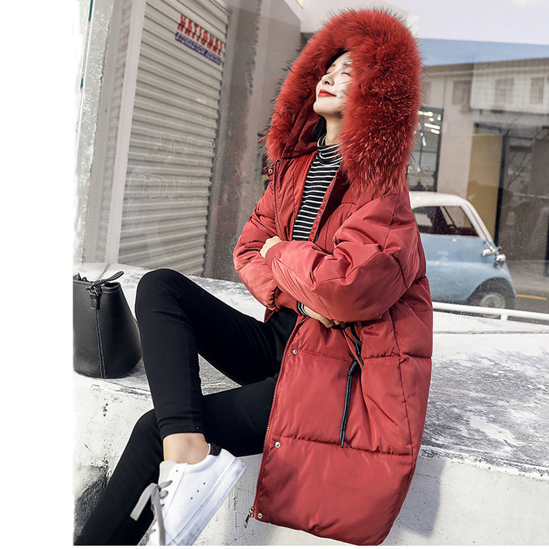 Cotton Clothing Jacket Women Winter 2019 Fur Collar Outerwear Coats Female Long Casual Thicken Warm Down cotton Jacket   Parka