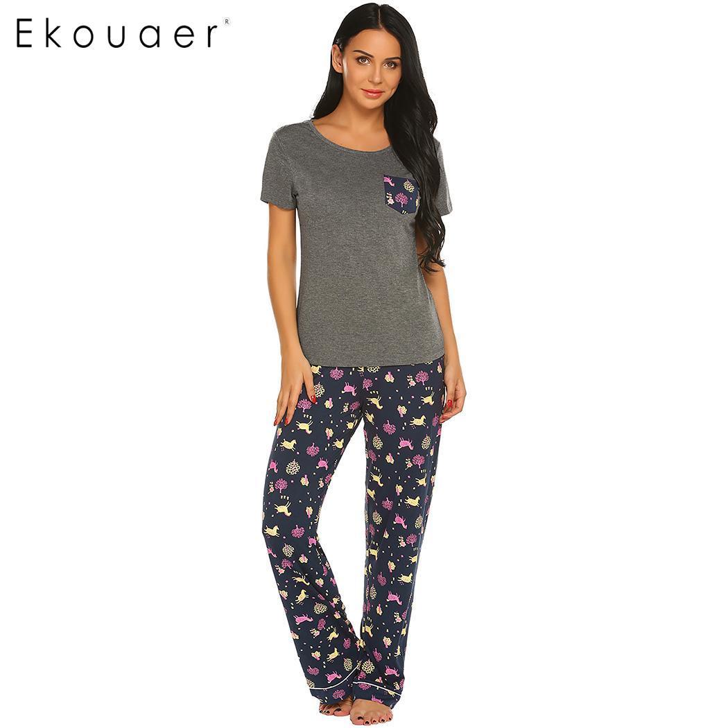 Ekouaer Women Pajamas Set Nightwear Causal Soft Front Pocket O-Neck Short Sleeve Tops And Long Sleepwear Pajama Set Home Clothes