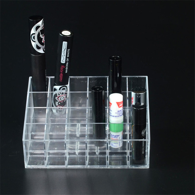 Hot 24 Grids Acrylic Makeup Organizer Cosmetic Box Storage Box Lipstick Jewelry Box Case Holder Display Stand Make Up Organizer 2