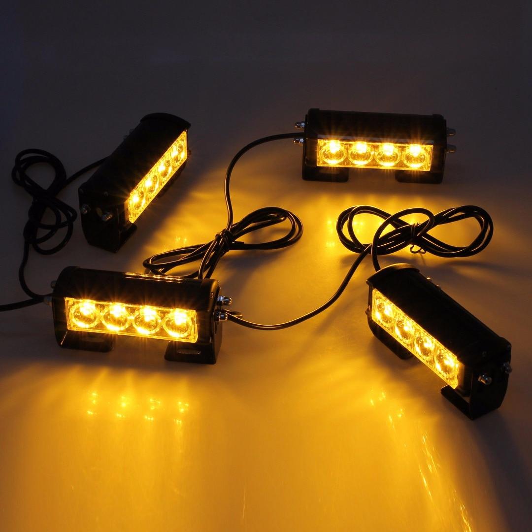 4LED Car Truck Strobe Warning Flashing Lights 12/24V Waterproof Hazard Emergency Warning Grille Signal Light