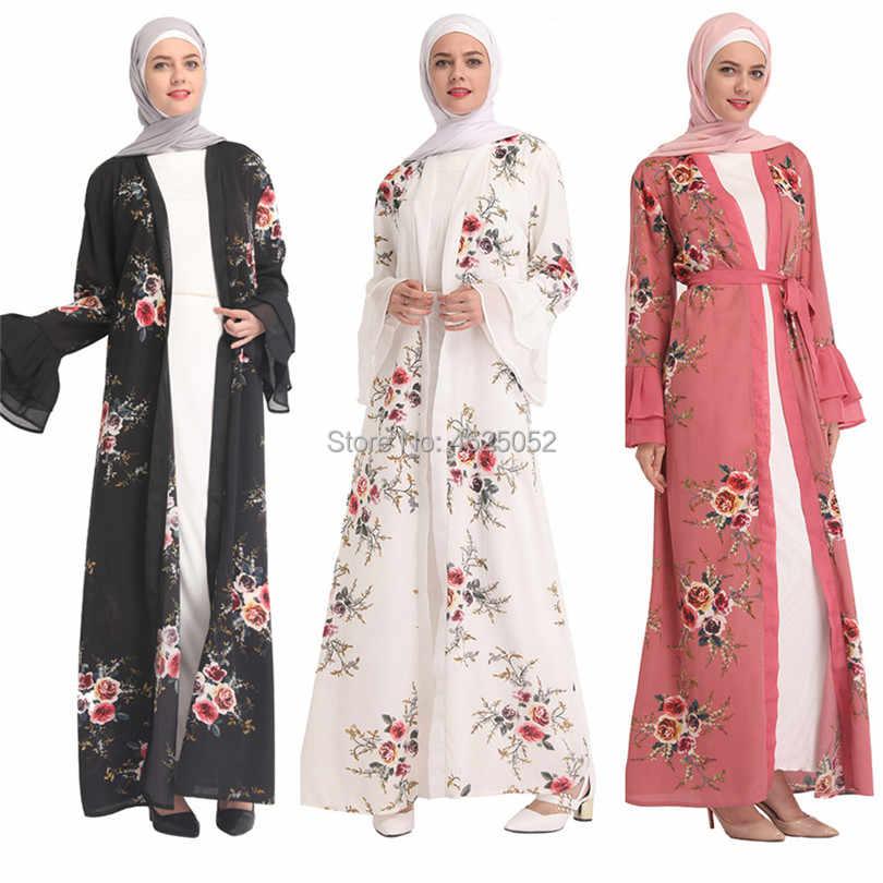 c202de5800 2019 Adult Abaya Robe Dubai Floral Print Muslim Dress Islamic Ramadan Caftan  Clothing Eid Mubarak Moroccan