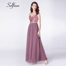 2019 New Fashion Sequin Dress Women Elegant A Line V Neck Spaghetti Straps Long Party Dress Sexy Backless Maxi Dresses Silver