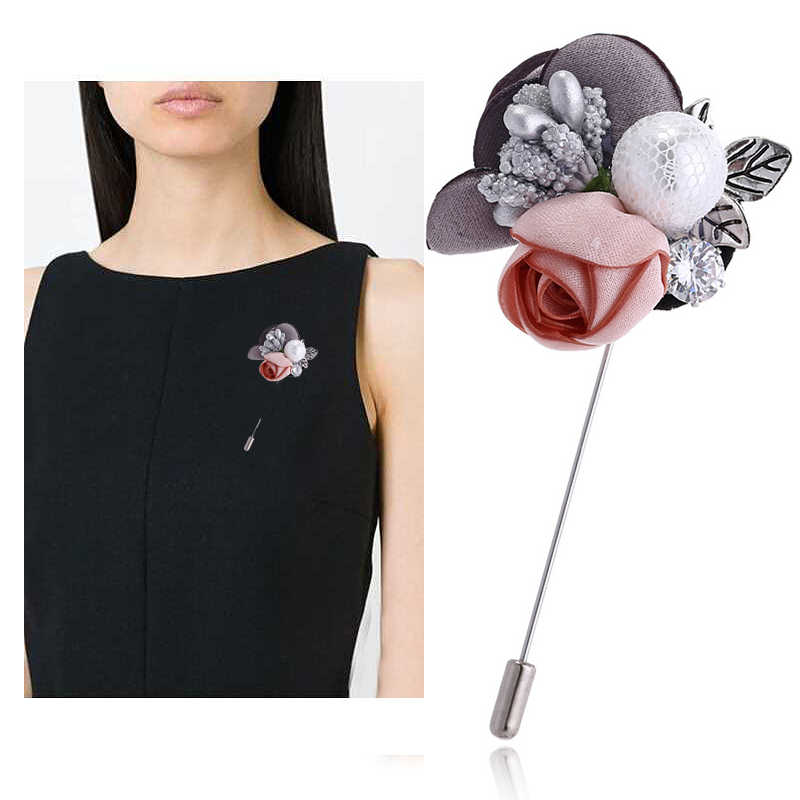 Handmade Rhinestone 1PC Flower Alloy Crystal Lace Pink Silver Color Cloth Brooch Gray Colorful Cardigan Sweater Simulated Pearl