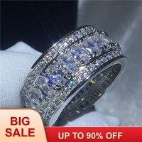 Роскошные женское кольцо на палец серебряный цвет AAAAA Cz камень большой Обручение обручальное кольцо для женщин Свадебные модные украшения