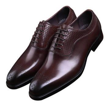 233b4142d67 Zapatos de vestir de negocios para hombre marrón/Negro Oxfords de cuero  genuino Goodyear Welt Boys zapatos de graduación zapatos de novio de boda
