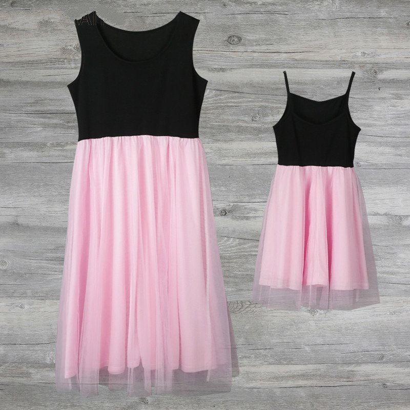 50176f754ecb1 US $7.35 54% OFF|New Family Look Mother Daughter Dresses Pink Patchwork  Mesh Princess Dress Mother And Daughter Clothes Mom And Daughter Dress-in  ...