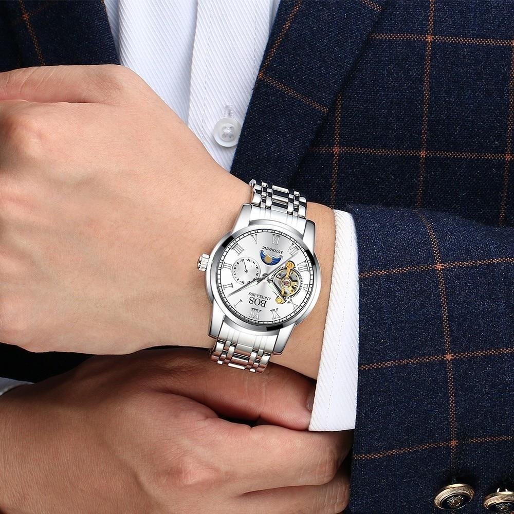 ANGELA BOS Czarny Mechaniczny Automatyczny Zegarek Mężczyźni Faza - Męskie zegarki - Zdjęcie 4